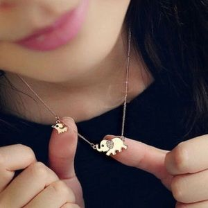 Gold Tone Mama & Baby Rhinestone Elephant Necklace
